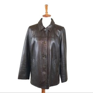 Eddie Bauer Genuine Leather Jacket Button Down